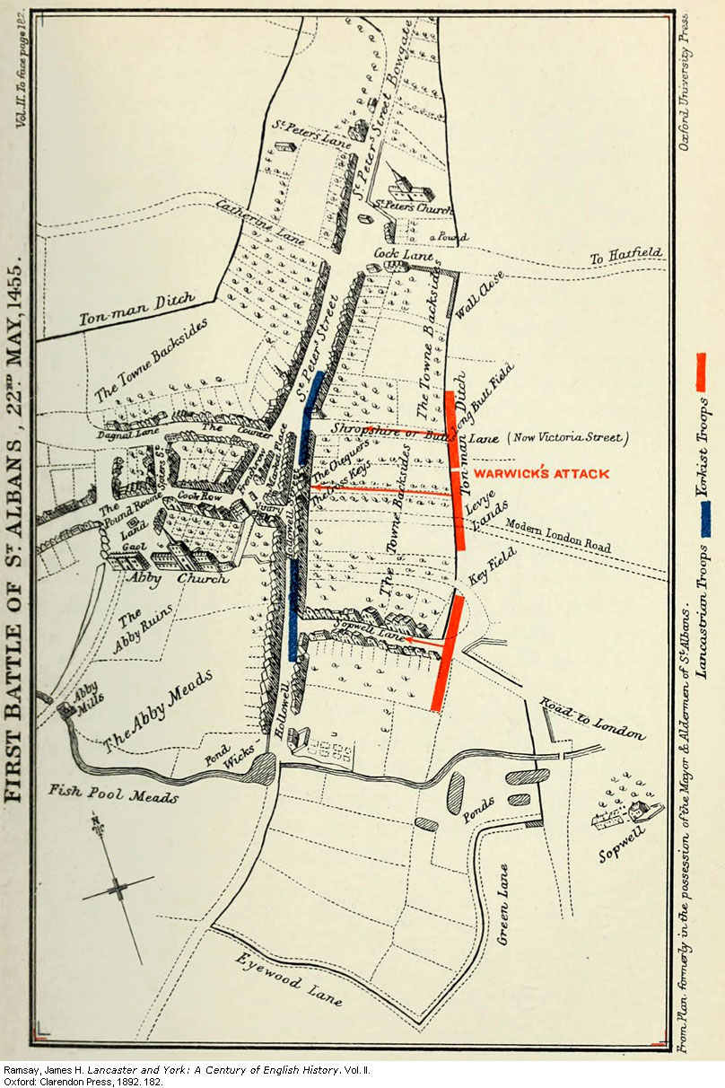 Battlefield Map for the first Battle of St. Albans, 1455 .