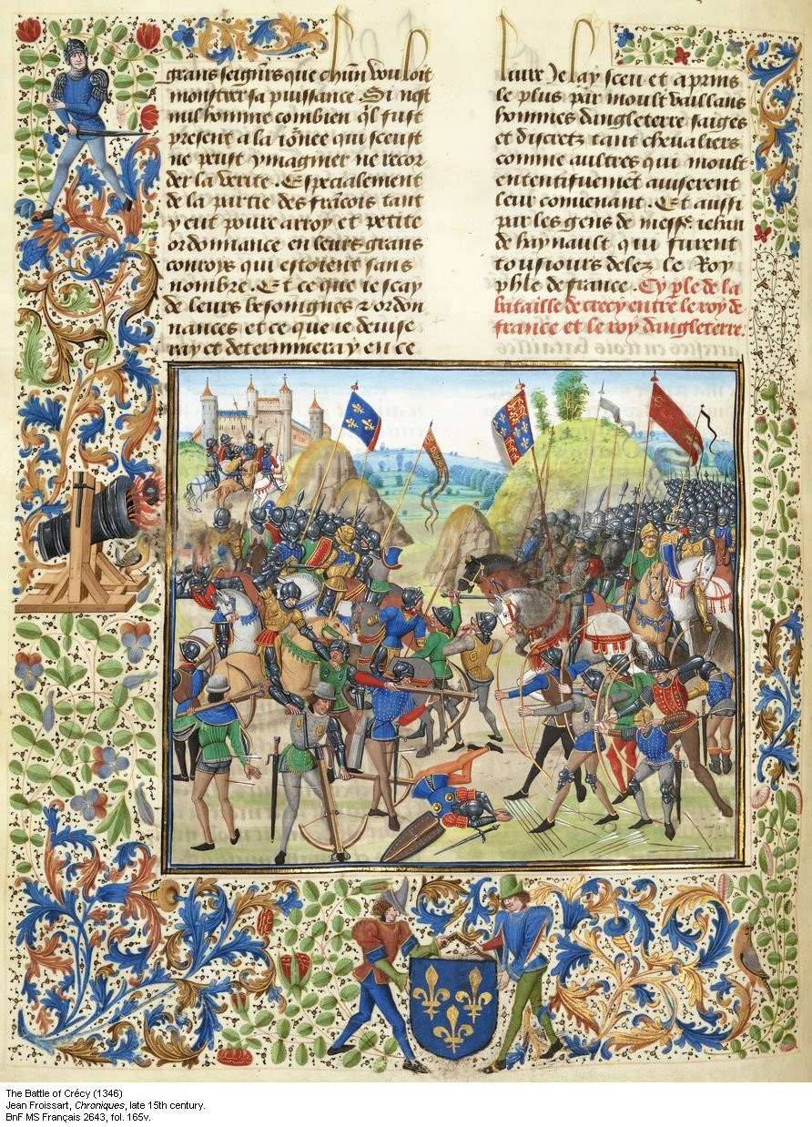 Edward III gives battle at Crecy.