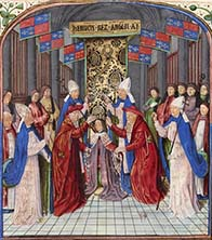 Coronation of Henry V. Illuminated manuscript.