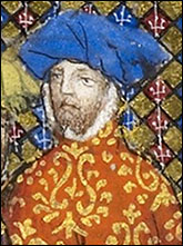Portrait of John Holland, Duke of Exeter and Earl of Huntingdon from British Library MS Harley 1319, f. 25.