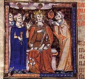 A King consulting both a doctor and an astrologer, c1327