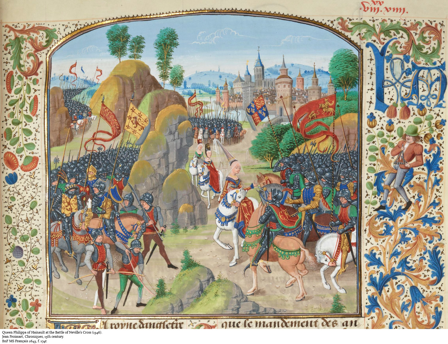 The Battle of Neville's Cross, 1346, from a 15th-century French Manuscript