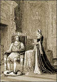 Katherine Parr discussing theology with the King