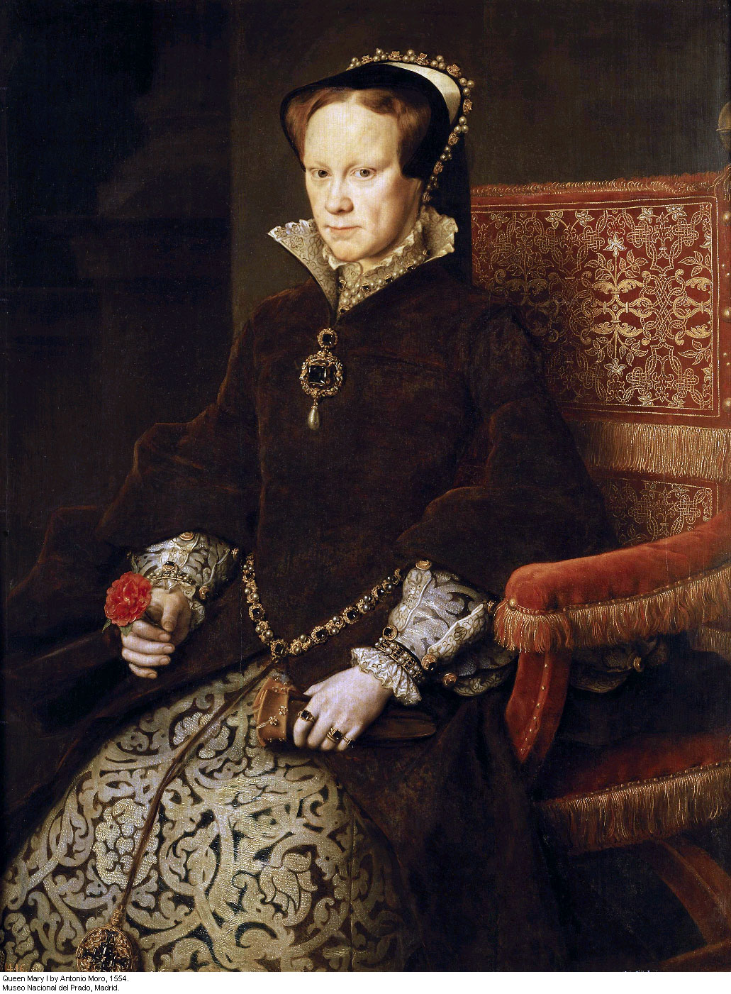 Portrait of Queen Mary I Tudor by Antonio Moro (Anthonis Mor), 1554.
