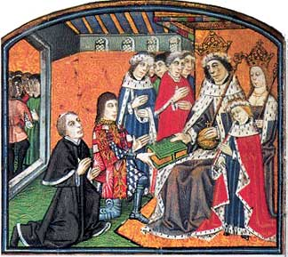 Caxton and Rivers presenting book to King Edward IV