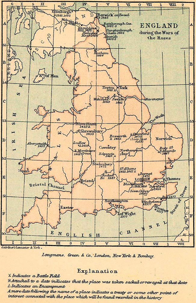 Map Of England Lancaster.The Wars Of The Roses 1455 1485