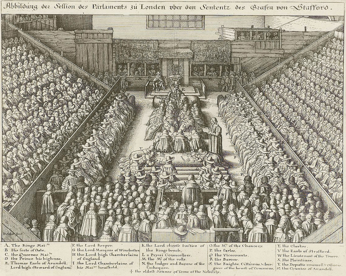 Trial of the Earl of Strafford in Westminster Hall. Engraving by Wenceslaus  Hollar, 1641