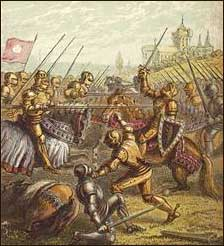 Artist's rendering of the battle of Tewkesbury. Art Print.