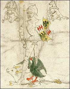 Portrait of Richard Neville, 16th Earl of Warwick, 'The Kingmaker', from the Rous Roll, 15th century.