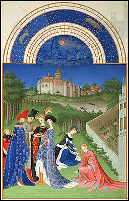 April Manuscript Image from the Tres Riches Heures de Duc de Berry