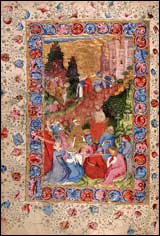 Chaucer Reading his 'Troilus and Criseyde' to Richard II. .1415-1425. Corpus Christi College.