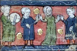 Dancing, from Ms P.A. 57, Biblioth&egrave;que Municipale de Lyon.