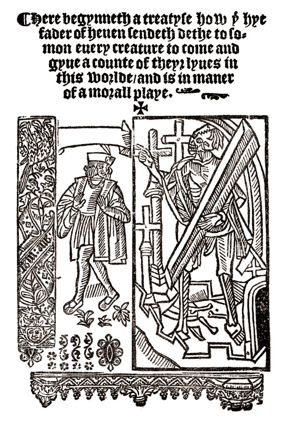 everyman middle english morality play medieval drama woodcut from the titlepage of everyman