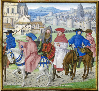 Lydgate and pilgrims on the road to Canterbury, at the beginning of the prologue of the Siege of Thebes.