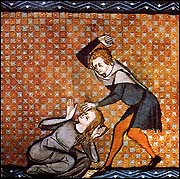 Wife-beating.  from Le Roman de la Rose
