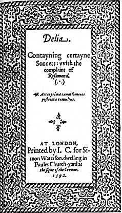 image: title page of Delia, 1592