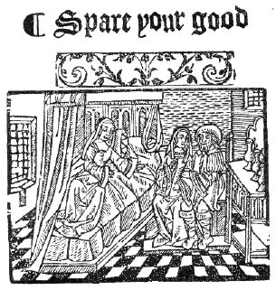 Image: woodcut ofwoman in a canopy bed, with a woman and a man seated nearby.