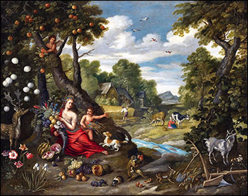 Jan Brueghel the Younger, Summer Landscape with Ceres. 1650s.