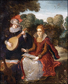 Circle of Louis de Caullery. Courting Couple in Park. Early 17thC.