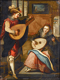 Follower of Louis de Caullery. Lady and Gentleman Playing Lutes. Early 17thC.