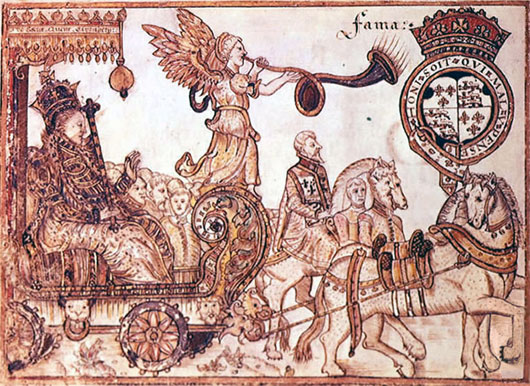 Queen Elizabeth riding the chariot of Fame