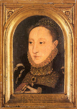 Queen Elizabeth I in a gold frame with verses