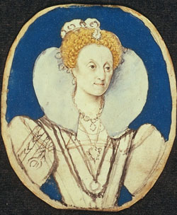 Queen Elizabeth I c.1590. Sketch by Isaac Oliver.