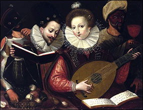 Flemish School. Lady playing Lute with Maskers. Early 17thC.