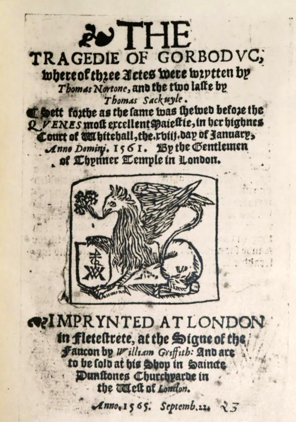 Title page of Gorboduc