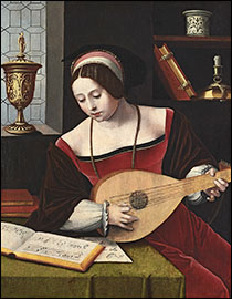 Lady Playing a Lute. Master of the Female Half-Lengths, c1530.