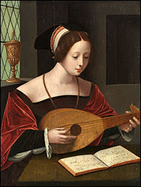 Master of the Female Half-Lengths. St. Mary Magdalen with Lute. c1530.