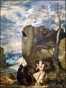 Velazquez. Sts. Anthony Abbot and Paul the first Hermit, c1634.