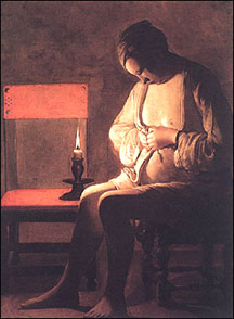 Georges de la Tour.  Woman Catching Fleas. c.1630.