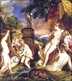 Titian. Diana and Callisto, det. 1559