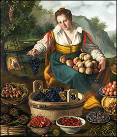Vincenzo Campi.  The Fruitseller, detail. 1580